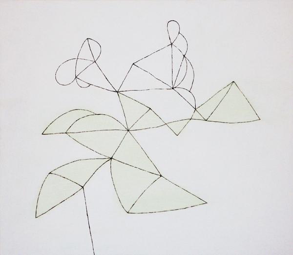 花による表現/w36.5 x h31.6 cm/アクリル絵の具、MDFボード/2008年