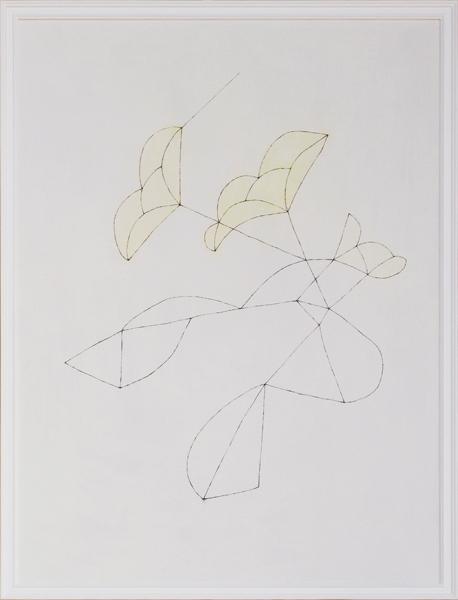 花による表現/w54.3 x h72.6 cm/アクリル絵の具、MDFボード/2009年