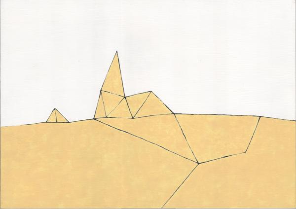砂漠/B4 w36.4 x h25.7 cm/アクリル絵の具、MDFボード/2008年
