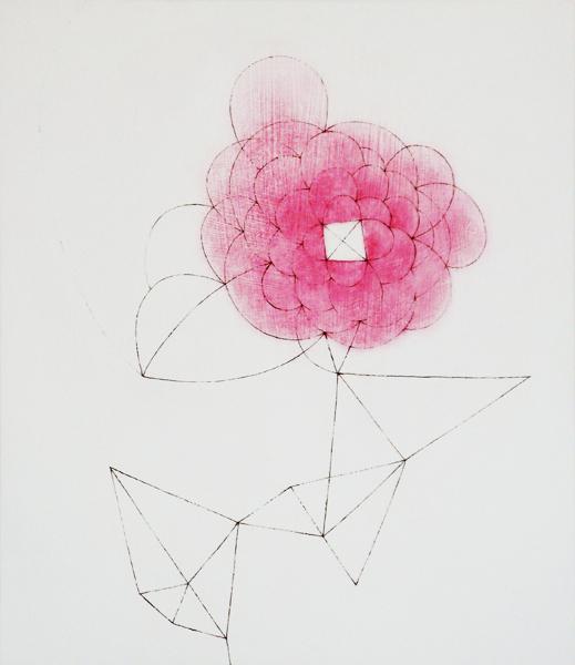 花による表現/w31.6 x h36.5 cm/アクリル絵の具、MDFボード/2008年