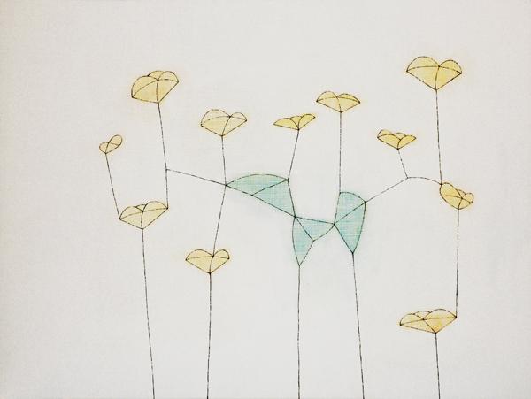 花による表現/w45.5 x h60.6 cm/アクリル絵の具、MDFボード/2008年