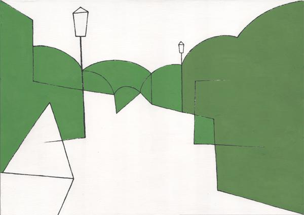 公園/B4 w36.4 x h25.7 cm/アクリル絵の具、MDFボード/2008年