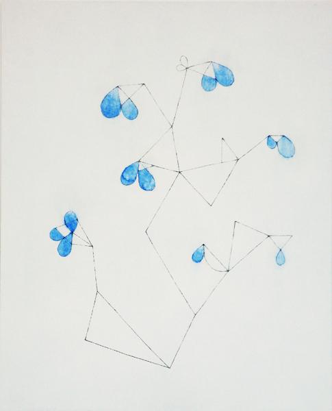 花による表現/w39.8 x h49.2 cm/アクリル絵の具、MDFボード/2008年