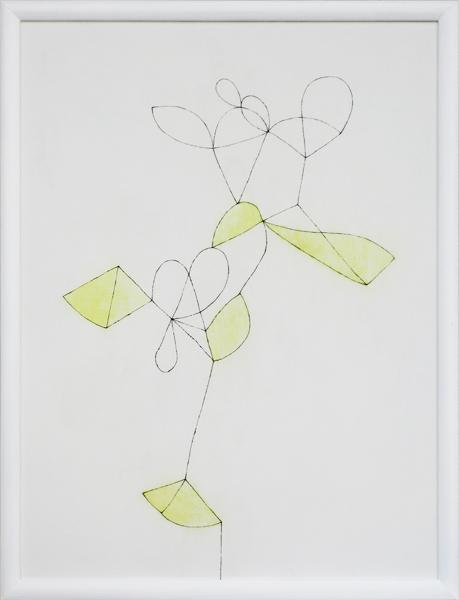 花による表現/w45.4 x h60.5 cm/アクリル絵の具、MDFボード/2009年