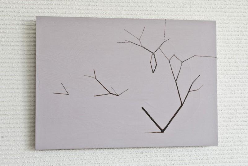 桜/w36.4 x h25.8 cm/漆、アクリル絵の具、MDFボード/2016年