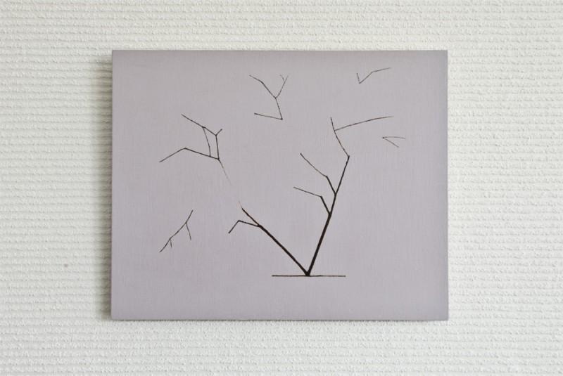 桜/w37 x h29.8 cm/漆、アクリル絵の具、MDFボード/2016年