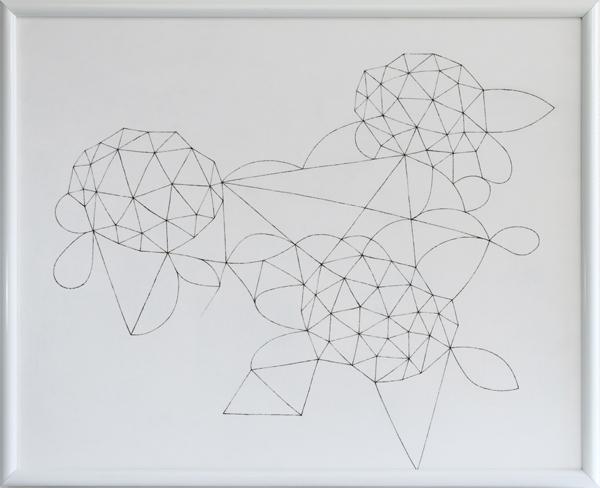 花による表現/w100.5 x h80.8 cm/アクリル絵の具、MDFボード/2008年