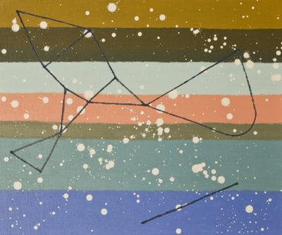 性質は景色を見る/F8 w45.5 x h38 cm/油絵の具、アクリル絵の具、木製パネル/2019年